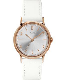 Reloj Marlin de 34mm de cuerda manual con correa de piel Tono oro rosa/Blanco large