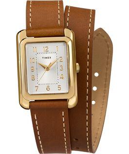 Reloj Addison de 25mm con correa de cuero de doble vuelta Dorado/Marrón/Plateado large