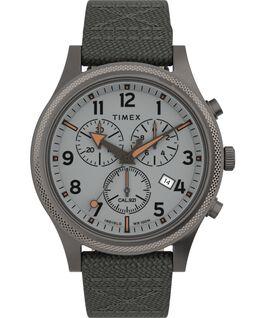 Reloj cronógrafo Allied LT de 42mm con correa de tela Gris/Plateado large