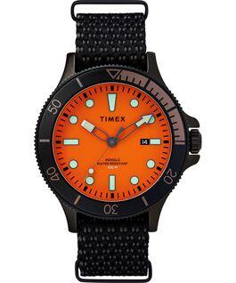 Reloj Allied Coastline de 43mm con bisel giratorio y correa de tela Negro/Naranja large