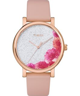 Full Bloom with Swarovski Crystals 38mm Leather Strap Watch Rose-Gold-Tone/Pink/White large