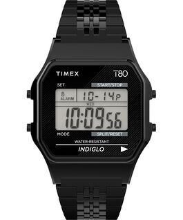 Timex T80 34mm Stainless Steel Bracelet Watch Black large