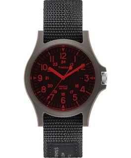 Reloj Acadia de 40 mm con correa de tela y cristal coloreado Negro large