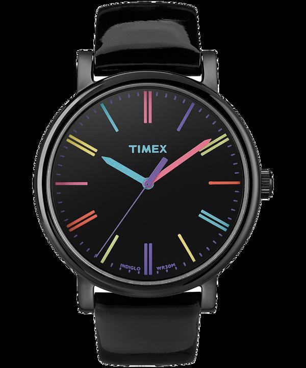 Reloj Originals de 38mm con correa de cuero acharolado Black large