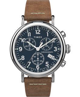 Reloj cronógrafo Standard de 40mm con correa de cuero Silver-Tone/Tan/Blue large