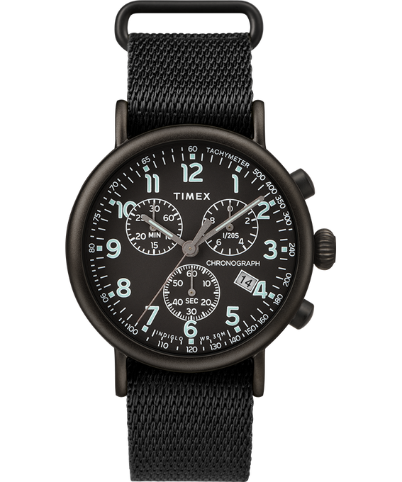Standard Chronograph 41mm Fabric Strap Watch Negro large