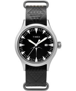 Reloj Timex x Keone Nunes de 40mm con correa de cuero Plateado/Negro large