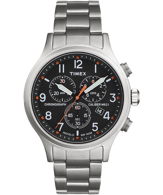 Reloj cronógrafo Allied con correa metálica de acero inoxidable Plateado/Acero inoxidable/Negro large
