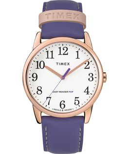 Reloj para mujer Easy-Reader Color Pop exclusivo de 38 mm con correa de piel Tono oro rosa/Morado/Blanco large
