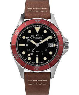 Reloj Navi XL automático de 41mm con correa de piel Acero inoxidable/Marrón/Rojo large