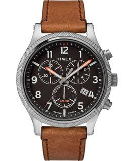 Reloj cronógrafo Allied LT de 42mm con correa de cuero Plateado/Marrón/Negro large