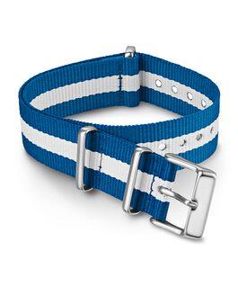 Correa deslizante de tela de doble capa de 18mm a rayas Azul large