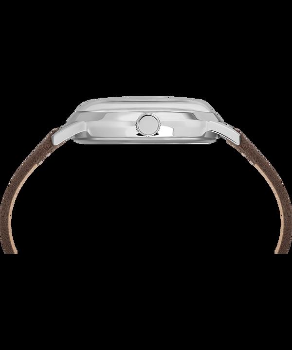 Reloj Welton con Snoopy de 40mm con correa de cuero Acero inoxidable/Marrón/Plateado large