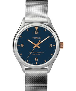 Reloj para mujer Waterbury Traditional de 34mm con correa de malla metálica Acero inoxidable/Plateado/Azul large