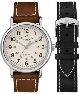 Set de regalo de reloj Weekender de 40mm con correa de cuero de 2 piezas Cromo/Marrón/Crema large