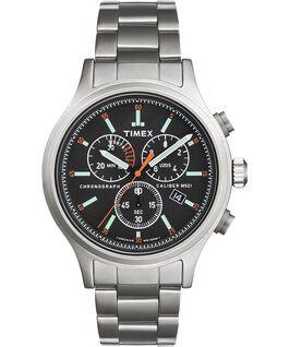 Reloj cronógrafo Allied de 42mm con correa metálica de acero inoxidable y agujas para la hora Plateado/Acero inoxidable/Negro large
