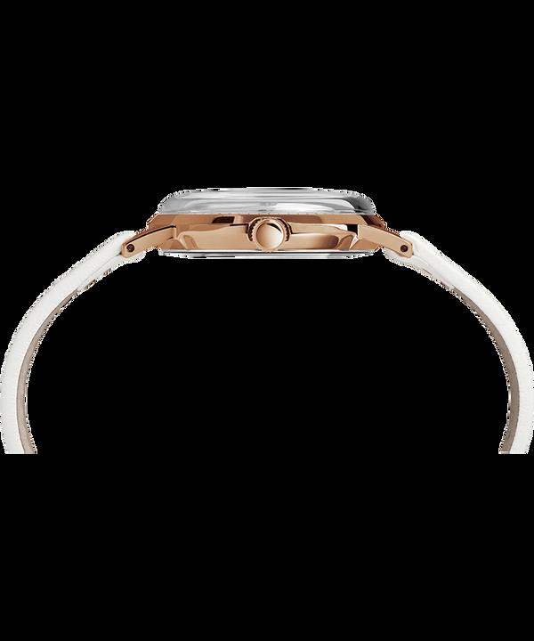 Reloj Marlin de 34mm de cuerda manual con correa de cuero Rose-Gold-Tone/White large