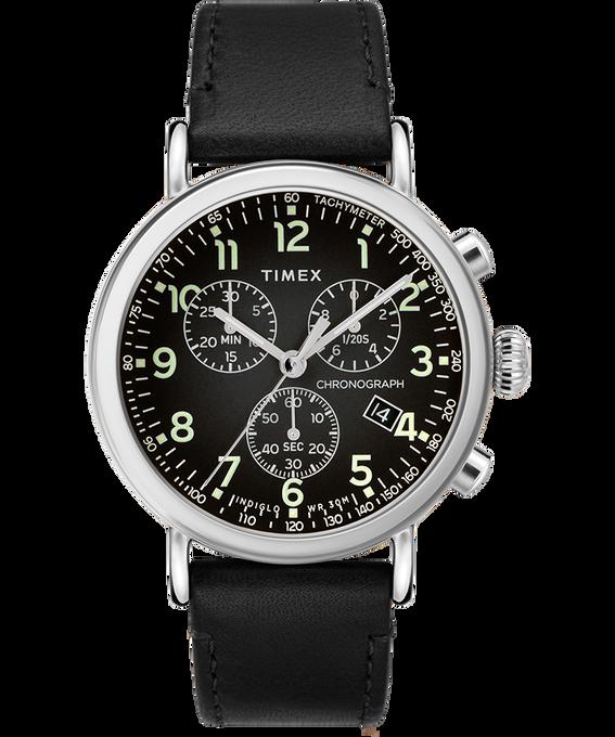 Reloj cronógrafo Standard de 40mm con correa de cuero Plateado/Negro large