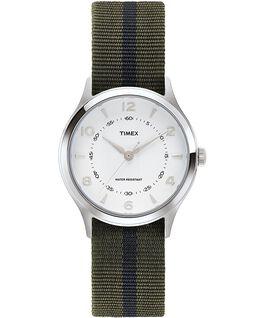Reloj Whitney Village de 38mm con correa de otomán y esfera blanca Acero inoxidable/Blanco large