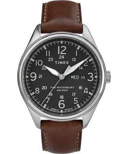 Reloj Waterbury Traditional Day Date con fecha de 42mm con correa de cuero Acero inoxidable/Marrón/Negro large