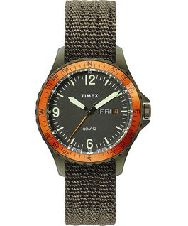 Reloj Navi Land de 38mm con correa de tela Acero inoxidable/Verde/Negro large