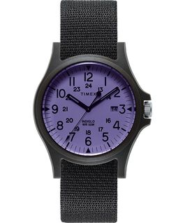 Reloj Acadia de 40mm con correa de tela Negro/Morado large