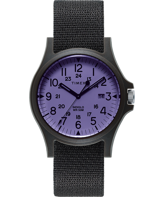 Reloj Acadia de 40 mm con correa de tela Black/Purple large