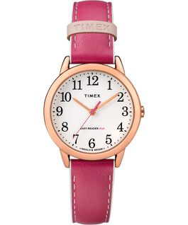Reloj para mujer Easy-Reader Color Pop exclusivo de 30 mm con correa de piel Tono oro rosa/Rosa/Blanco large