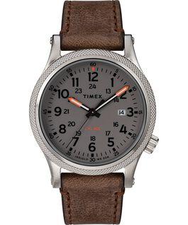 Reloj Allied LT de 40mm con correa de cuero Plateado/Marrón/Gris large
