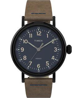 Reloj Standard de 40mm con correa de cuero Gunmetal/Brown large