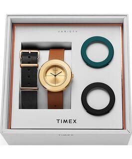 Reloj Variety de 34mm con correa de cuero, set Dorado/Camel large