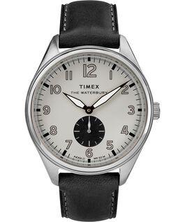 Reloj Waterbury Traditional con subsegundero de 42mm con correa de cuero Acero inoxidable/Negro/Gris large
