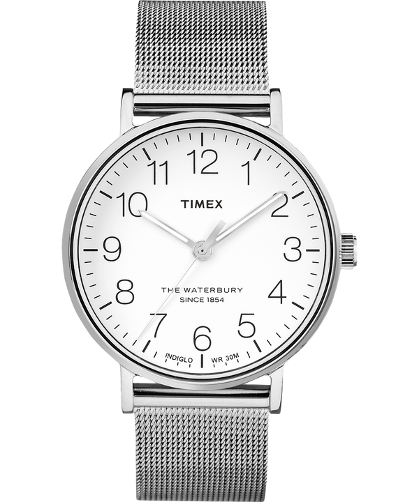 Reloj de acero inoxidable Waterbury Classic de 40mm con correa metálica Stainless-Steel/White large