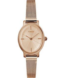 Reloj Milano Oval de 24mm con correa de malla metálica de acero inoxidable Tono oro rosa large