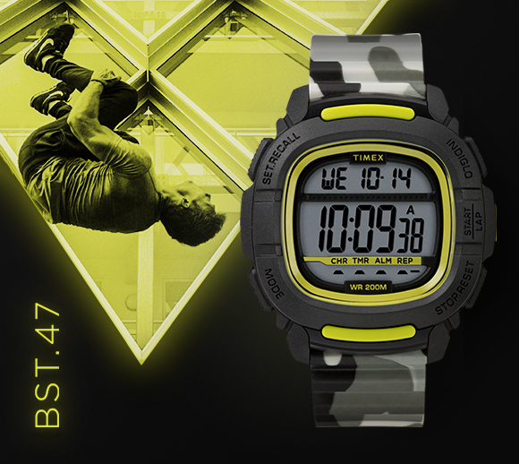 Neon green colored picture with man flipping with grey and green watch on headlining at the bottom of the image BST.47